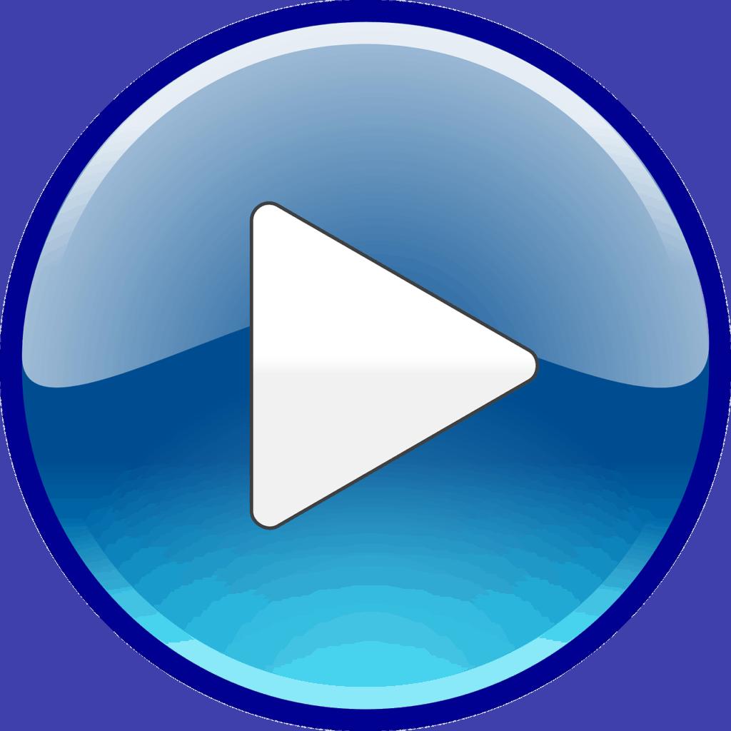 Freccia bianca rappresentata da un triangolo isoscele con il vertice verso destra inscritta in un cerchio blu.