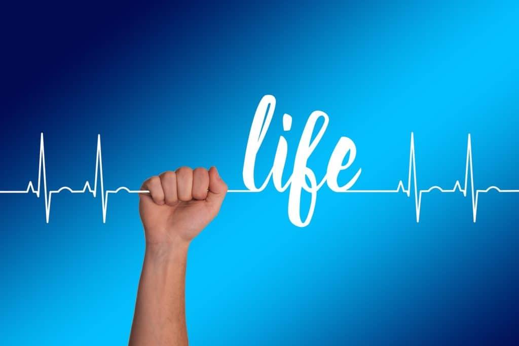 Montaggio fotografico: mano chiusa a pugno che stringe un filo che imita il tracciato di un ECG che forma, al centro, la scritta Life, vita.