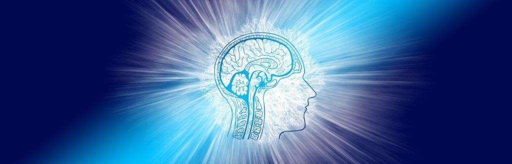 disegno di testa di profilo con stilizzazione di cervello con le sue connessioni circondata da una luce bianca che irradia lo spazio blu scuro intorno a sé
