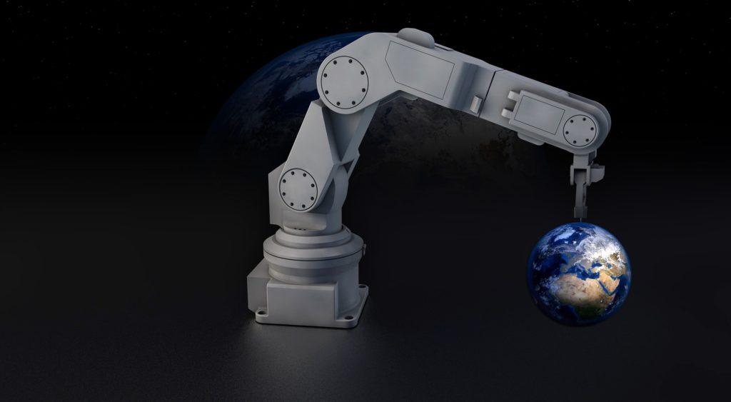 Ripartire significa risollevare il mondo con un braccio meccanico.
